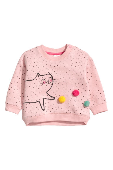 Molleton avec impression - Rose poudré/chat - ENFANT | H&M BE