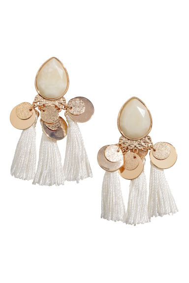Earrings with tassels - Gold-colored/natural white - Ladies | H&M CA