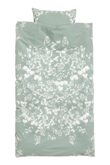 Patterned duvet cover set - Dusky green/White patterned - Home All | H&M IE