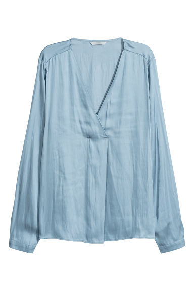Satin blouse - Light blue - Ladies | H&M IE