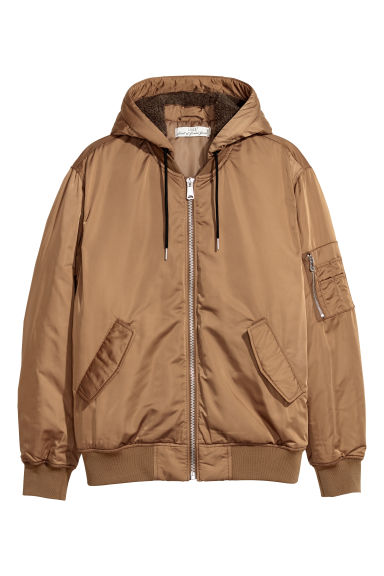 Padded hooded bomber jacket - Light brown -  | H&M IE