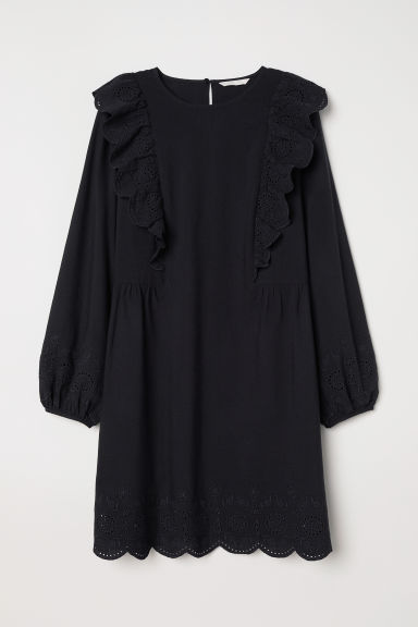 Dress with broderie anglaise - Black - Ladies | H&M CN