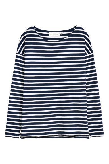 Long-sleeved top - White/Dark blue striped - Ladies | H&M IE