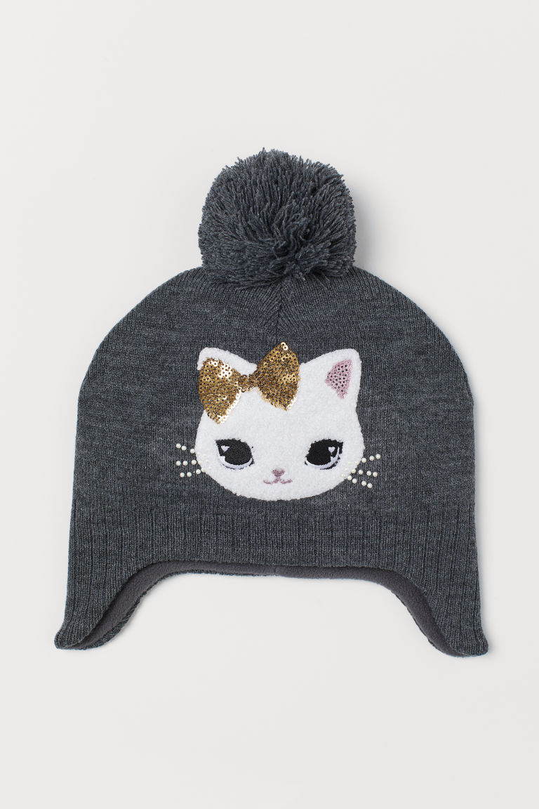 Hat with sequins - Light grey marl/Cat - Kids | H&M GB