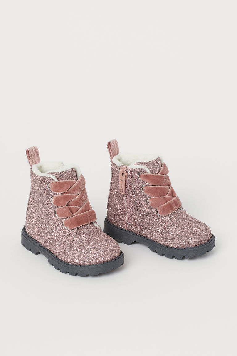 Fleece-lined boots - Glittery pink - Kids | H&M GB