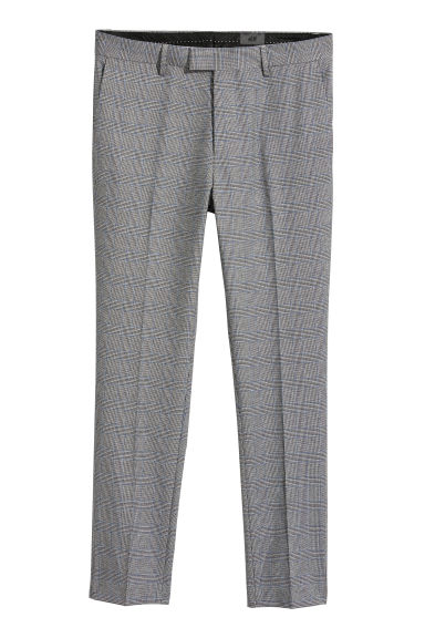 Suit trousers Skinny fit - Grey/Blue checked - Men | H&M