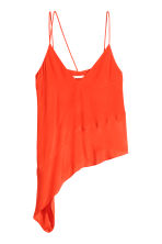 Asymmetric satin top - Orange - Ladies | H&M CN 2