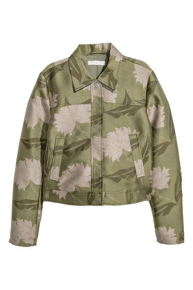 Jacquard-patterned jacket - Green/Floral - Ladies | H&M IE