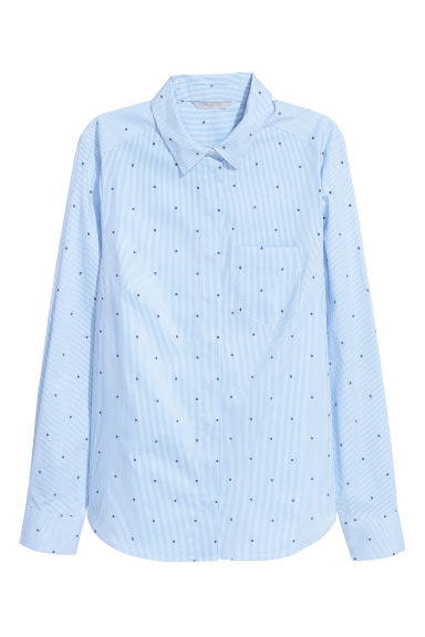 Fitted shirt - Light blue/White striped -  | H&M
