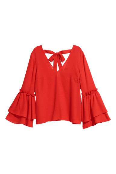 Flounced top - Red - Ladies | H&M GB