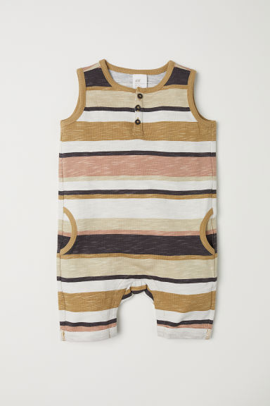 Sleeveless cotton romper suit - Beige/Striped -  | H&M GB
