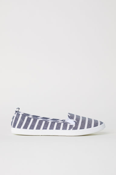 Slip-on trainers - Denim blue/Striped - Ladies | H&M CN