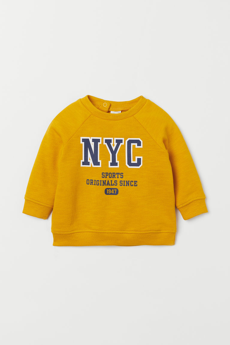 Cotton sweatshirt - Yellow/NYC - Kids | H&M GB