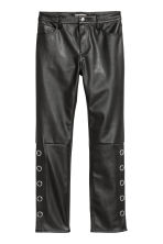 Imitation leather trousers - Black - Ladies | H&M 2