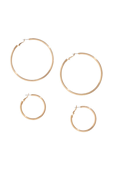 2 pairs earrings - Gold-coloured - Ladies | H&M CN