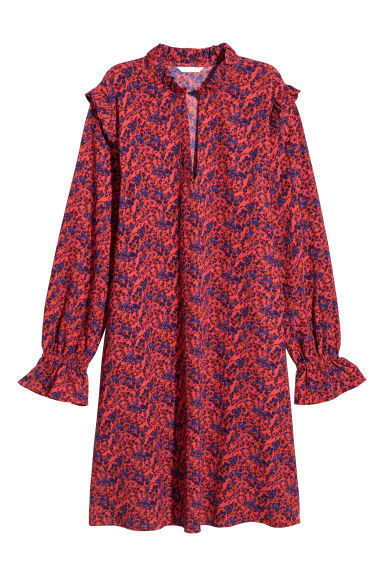Patterned, frilled dress - Red/Floral - Ladies | H&M