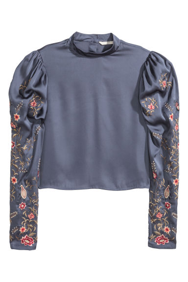 Satin blouse with embroidery - Dark grey - Ladies | H&M CN