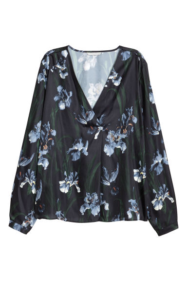 Satin blouse - Black/Floral - Ladies | H&M