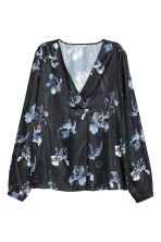 Satin blouse - Black/Floral - Ladies | H&M CN 2