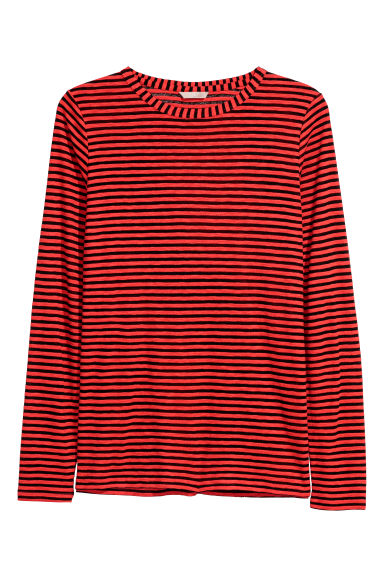 H&M+ Striped jersey top - Red/Black striped - Ladies | H&M