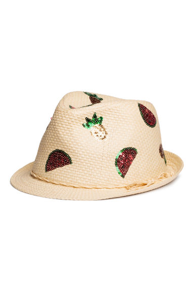 Straw hat with sequins - Natural - Kids | H&M CN