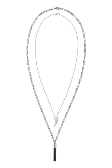 2-pack necklaces with pendants - Silver-coloured -  | H&M IE