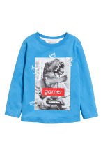 Printed jersey top - Blue - Kids | H&M CN 1