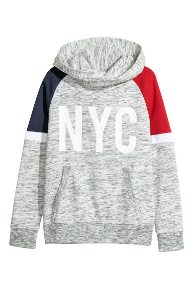 Hooded top with a motif - Light grey marl/NYC - Kids | H&M CN
