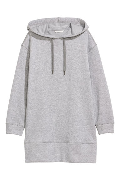 Oversized hooded top - Light grey marl -  | H&M