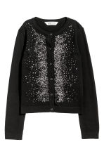 Sequined cotton cardigan - Black - Kids | H&M CN 1