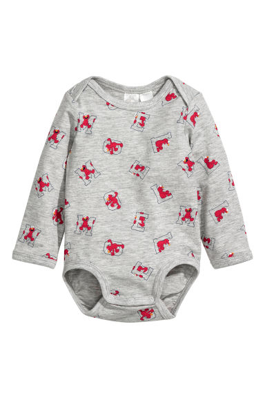Long-sleeved bodysuit - Light grey/Sesame Street - Kids | H&M IE