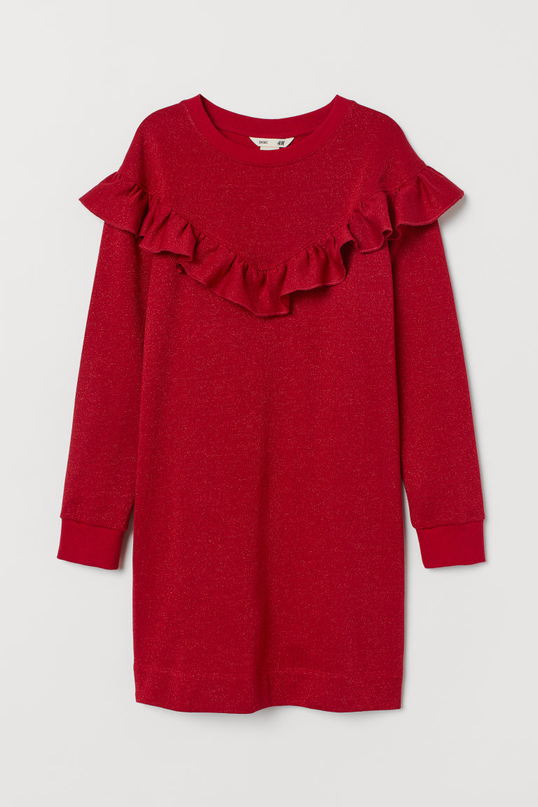 Sweatshirt dress with flounce - Red/Glittery - Kids | H&M GB