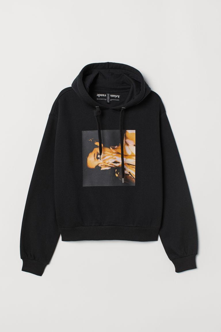 Short printed hooded top - Black/Ariana Grande -  | H&M GB