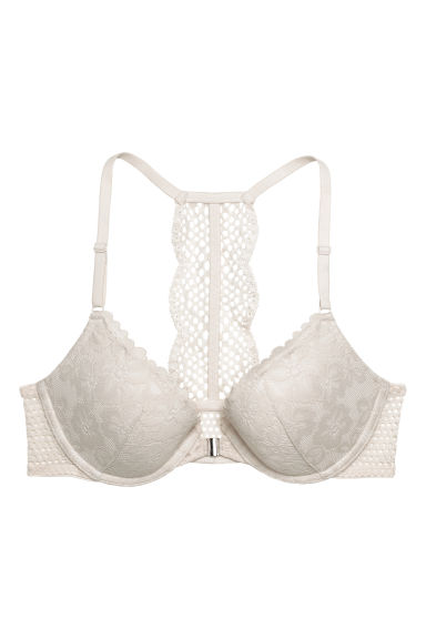 Push-up bra with a lace back - Light beige -  | H&M
