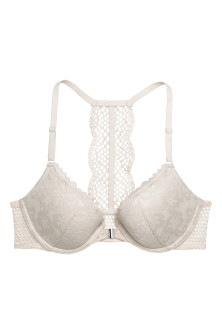 Push-up bra with a lace back