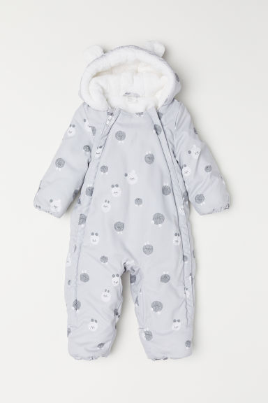Padded all-in-one suit - Light grey/Patterned - Kids | H&M CN