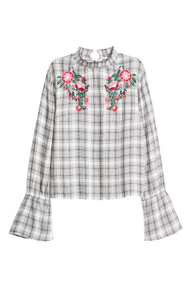 Blouse with a stand-up collar - Black/Checked -  | H&M