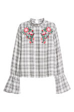 Blouse with a stand-up collar - Black/Checked - Ladies | H&M IE 1