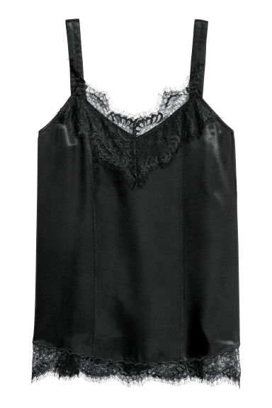 Top with lace - Black - Ladies | H&M GB