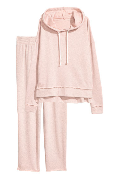 Lounge set top and bottoms - Light pink marl -  | H&M