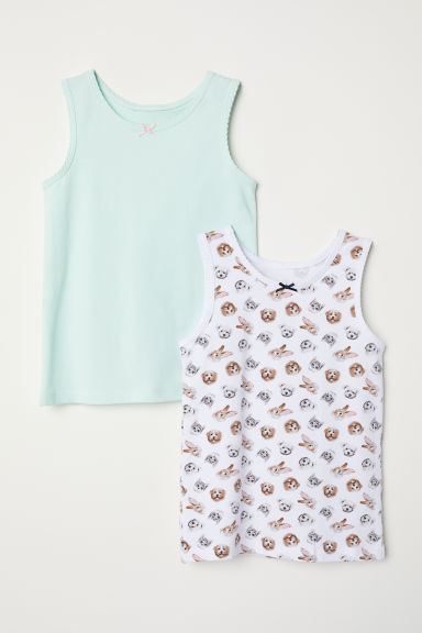 2-pack vest tops - Mint green/Animals -  | H&M CN