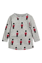 Patterned jersey top - Light grey/Patterned - Kids | H&M CN 1