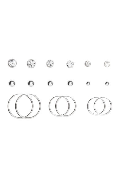 9 pairs earrings - Silver-coloured - Ladies | H&M CN