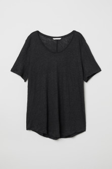 Linen Scoop-neck Top