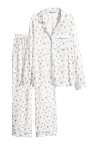 Pyjama shirt and bottoms - White/Floral -  | H&M