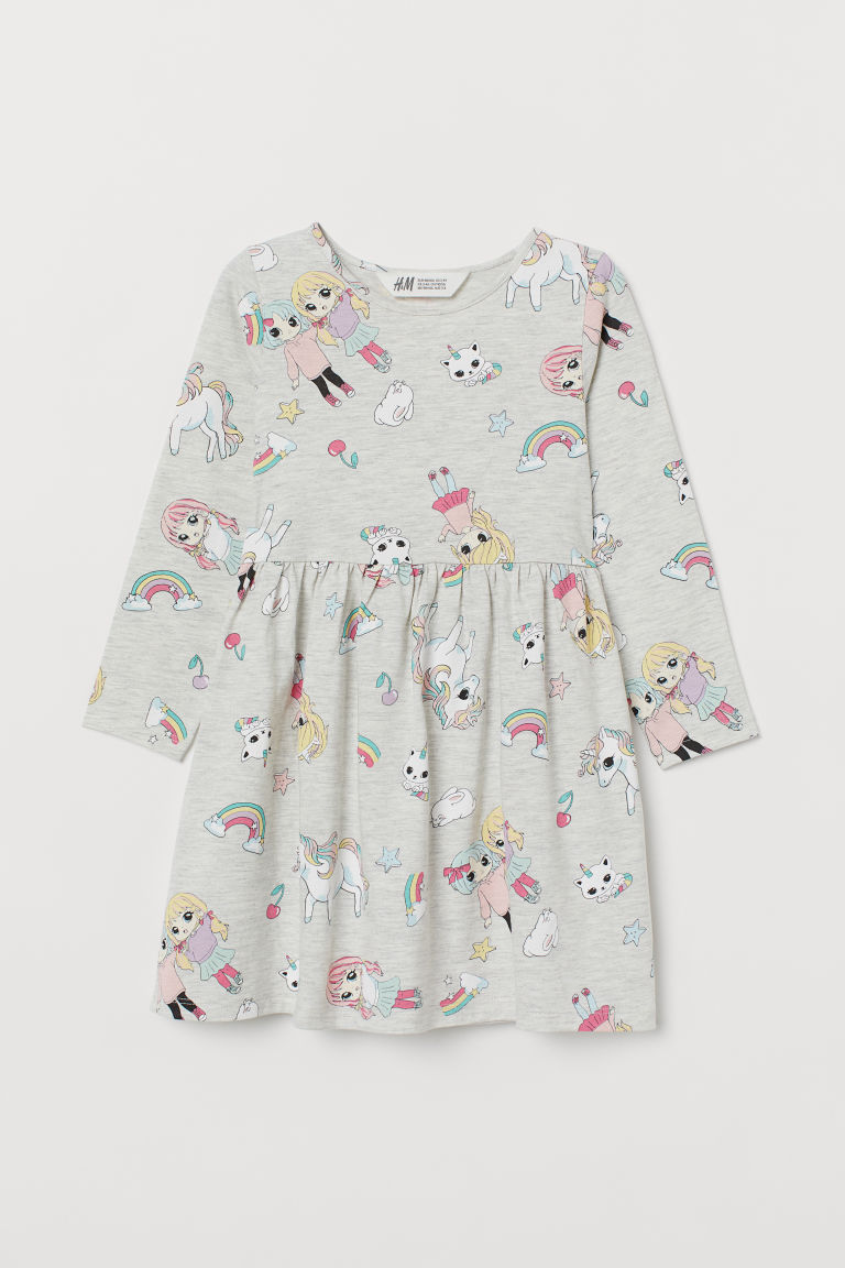 Printed jersey dress - Grey marl/Rainbows - Kids | H&M GB