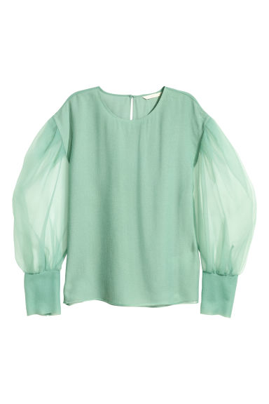 Balloon-sleeved blouse - Dusky green - Ladies | H&M