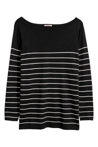 H&M+ Jacquard-knit jumper - Black/Striped -  | H&M CN