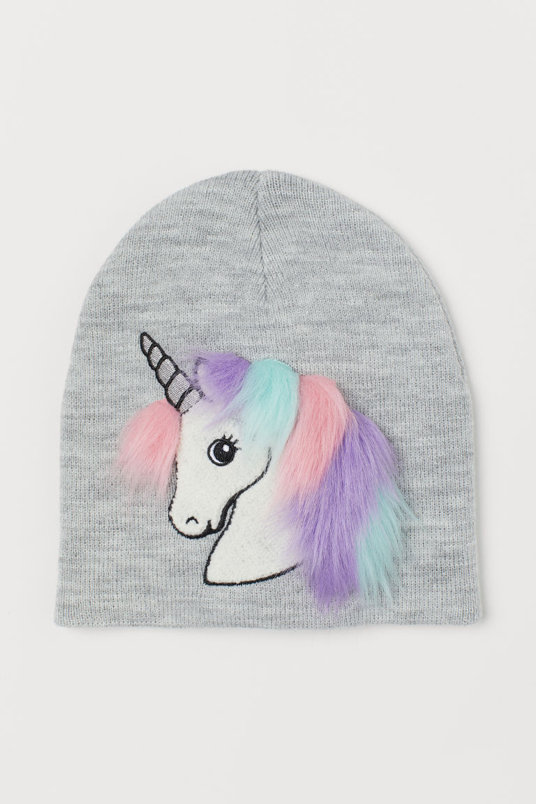 Hat with a motif - Light grey/Unicorn - Kids | H&M GB