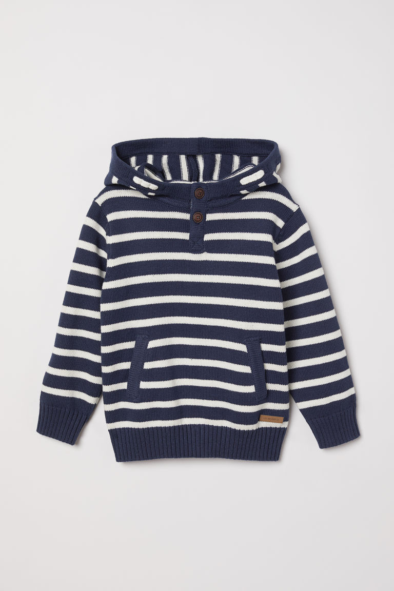 Knitted hooded jumper - Dark blue/Striped - Kids | H&M GB